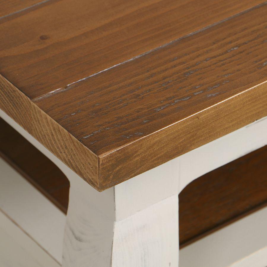 Table basse rectangulaire 2 tiroirs en épicéa massif blanc vieilli - Provence