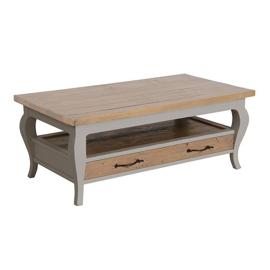 Table basse rectangulaire 2 tiroirs en épicéa massif  gris tourterelle - Provence