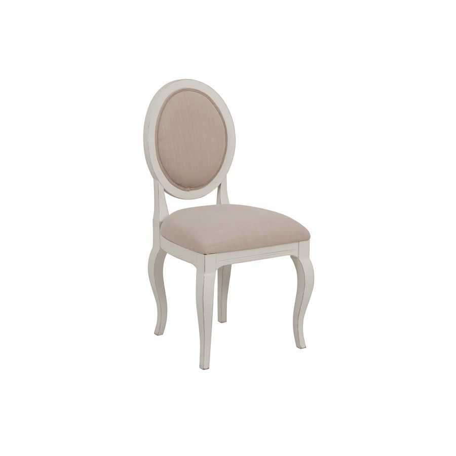 Chaise médaillon en tissu et hévéa - Provence
