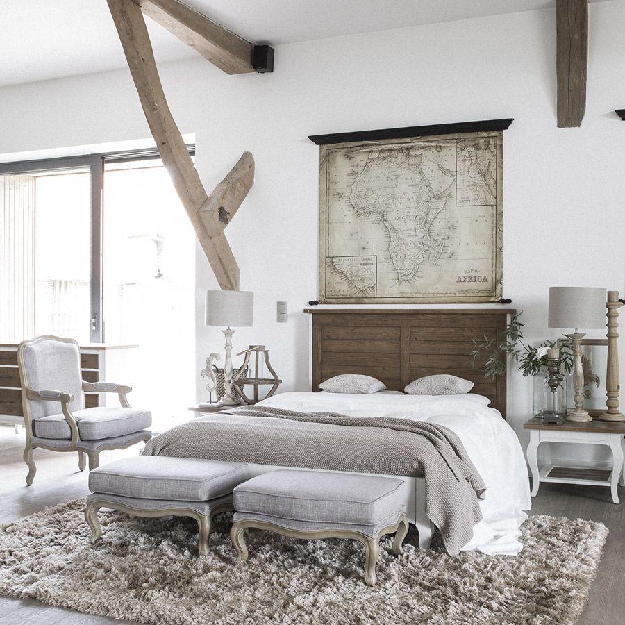 Lit 160x200 en épicéa massif blanc vieilli - Provence