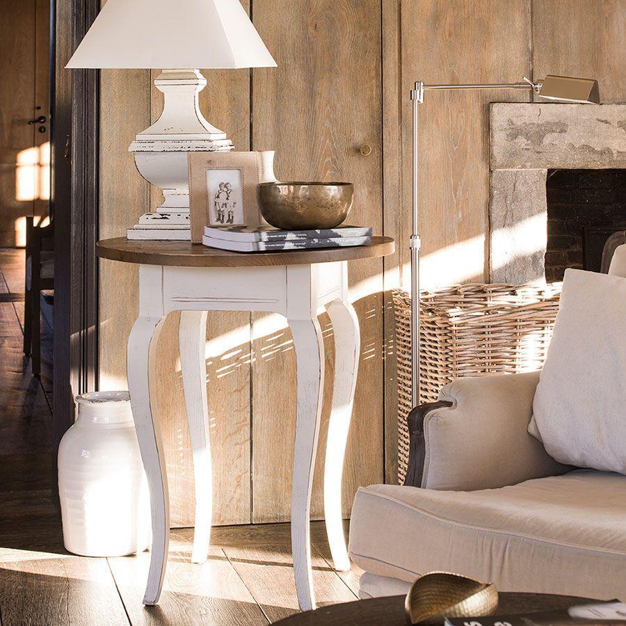 Guéridon en épicéa massif blanc - Provence