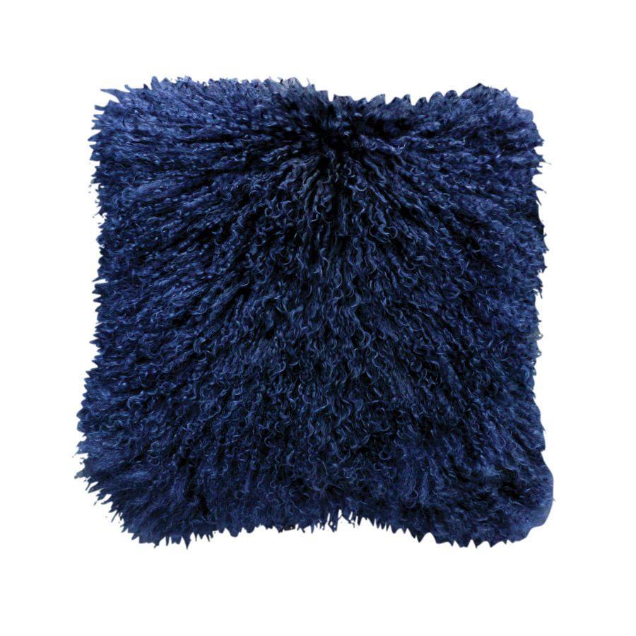 Housse de coussin en fourrure d'agneau tibétain bleue 40x40