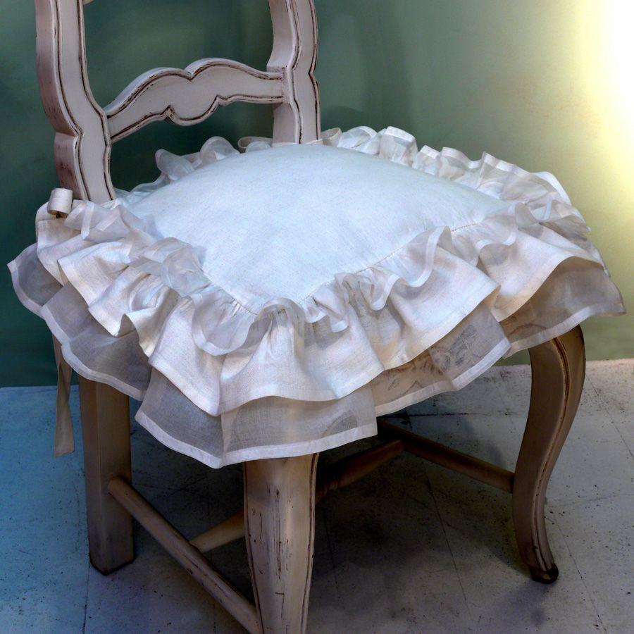 Galettes de chaises blanches en coton et lin 38x38 (lot de 2)
