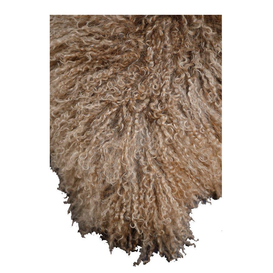Housse de coussin beige en laine d'agneau du Tibet