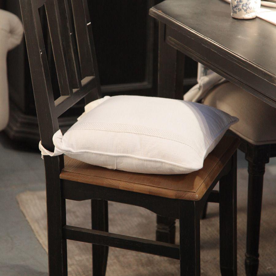 Galette de chaise blanche en dentelle 40x40