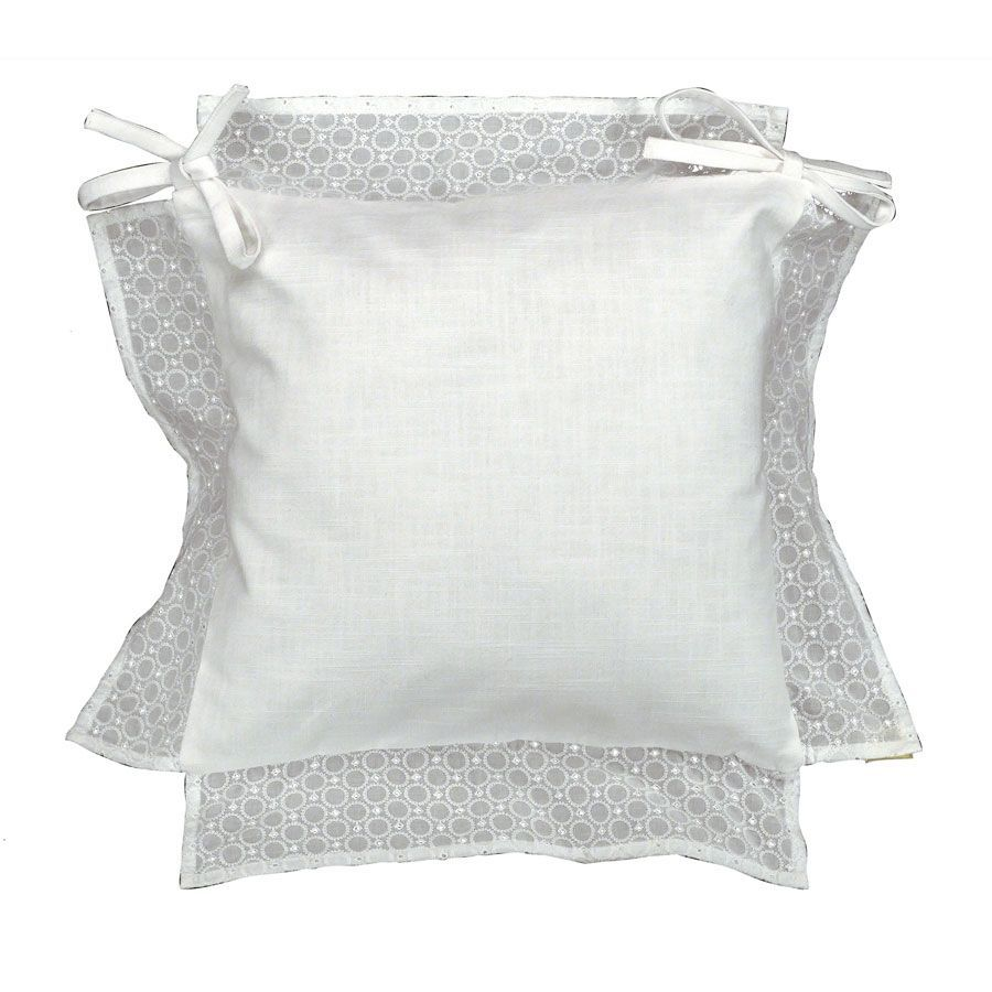 Galette de chaise broderie anglaise 40x40