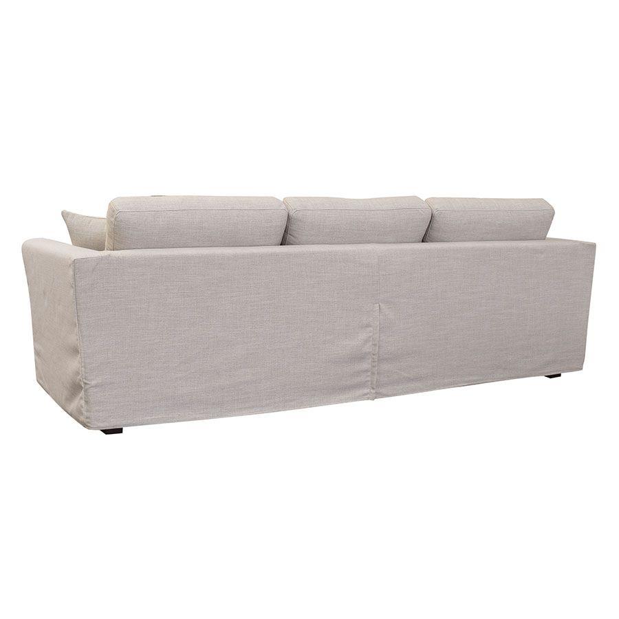 Canapé d'angle 5 places en tissu écru - Boston