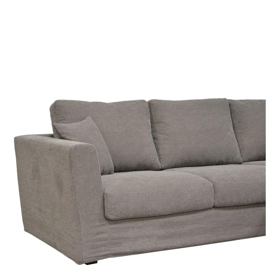 Canapé d'angle 5 places en tissu taupe - Boston