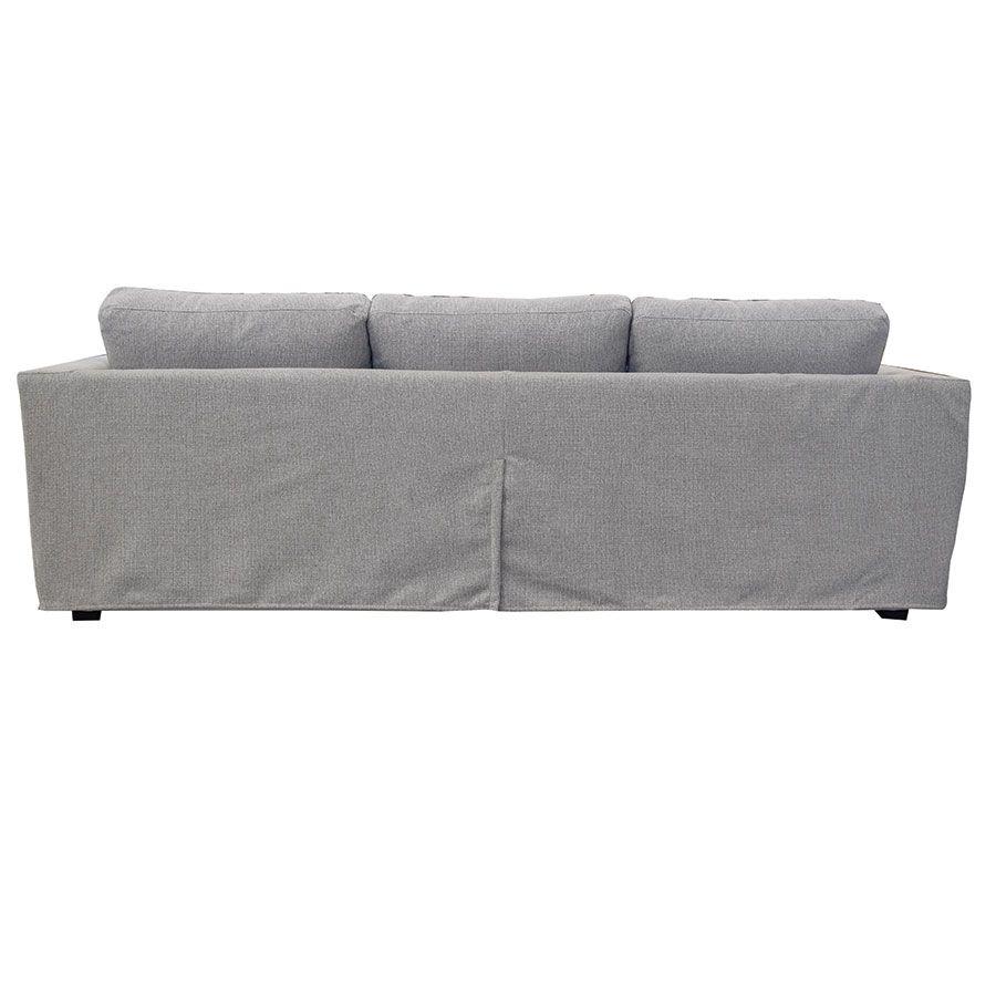 Canapé d'angle 5 places en tissu gris clair - Boston