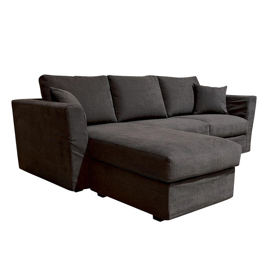Canapé d'angle 5 places en tissu gris anthracite - Boston