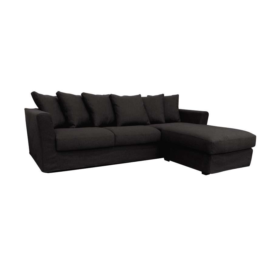 Canapé d'angle 5 places gris en tissu - Boston