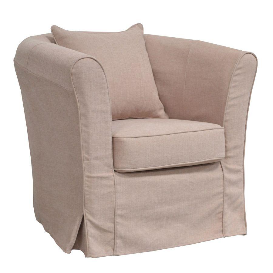 Fauteuil cabriolet en tissu rose pâle - Bristol