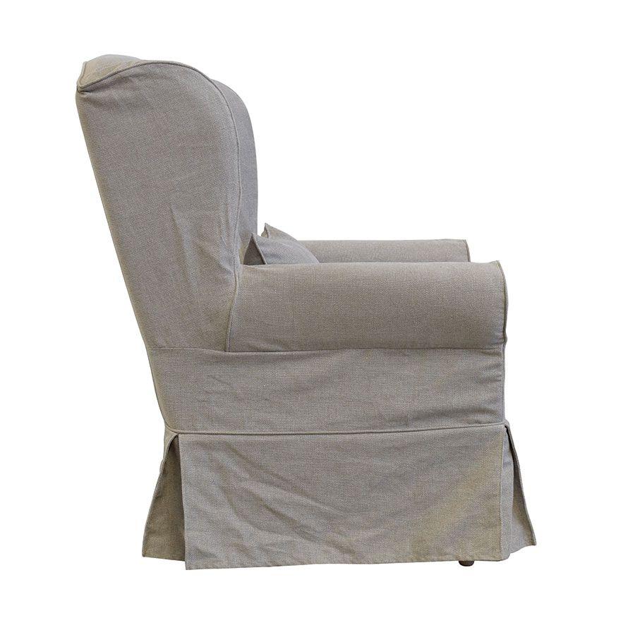 Fauteuil en tissu beige naturel - Claridge