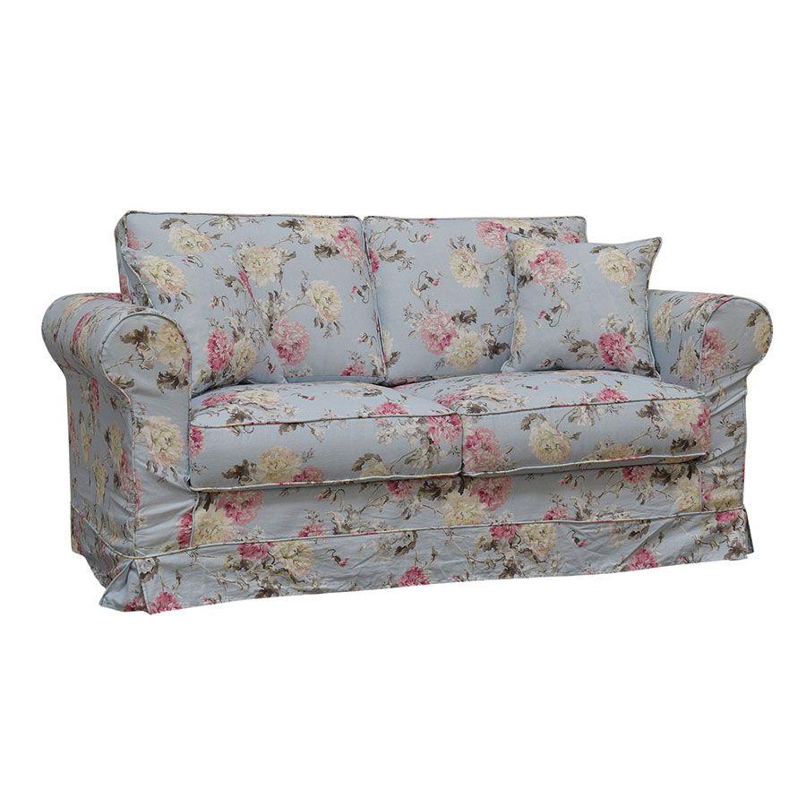 Canapé 2 places en tissu bleu fleuri - Crowson