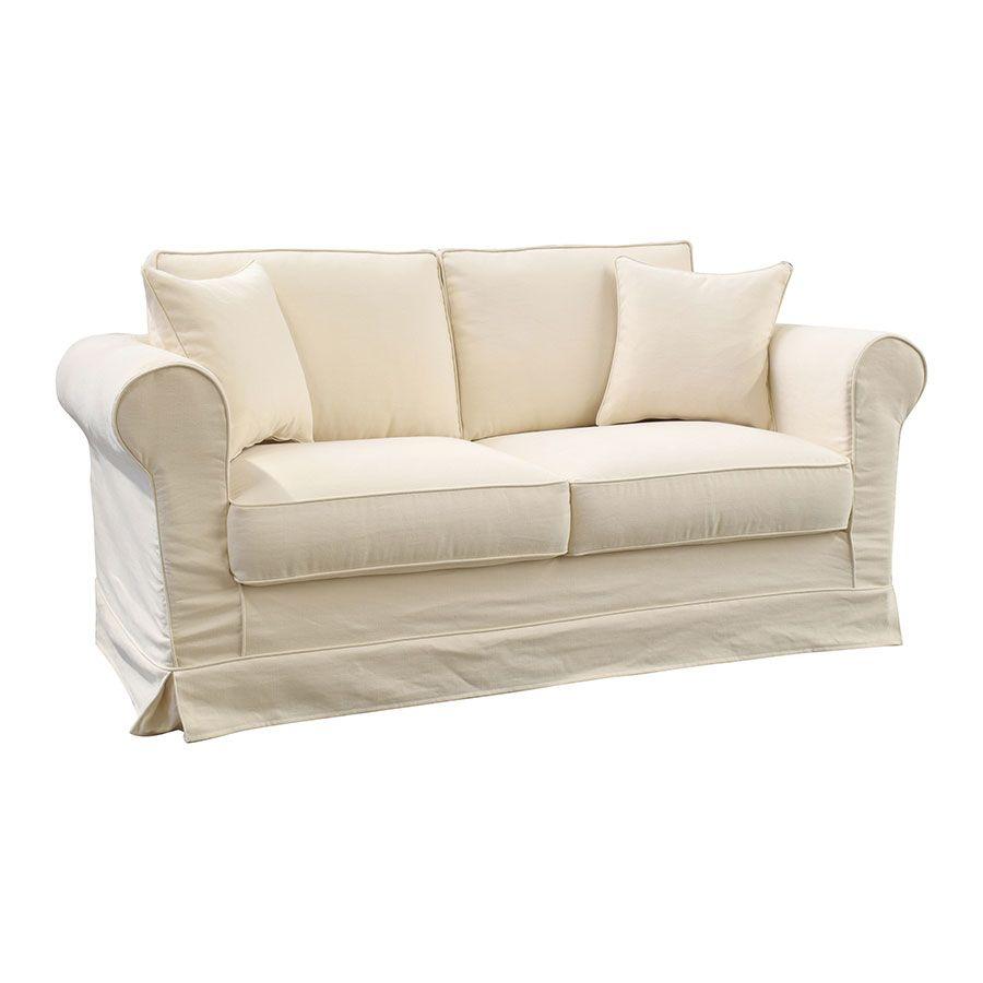 Canapé 2 places en tissu beige - Crowson