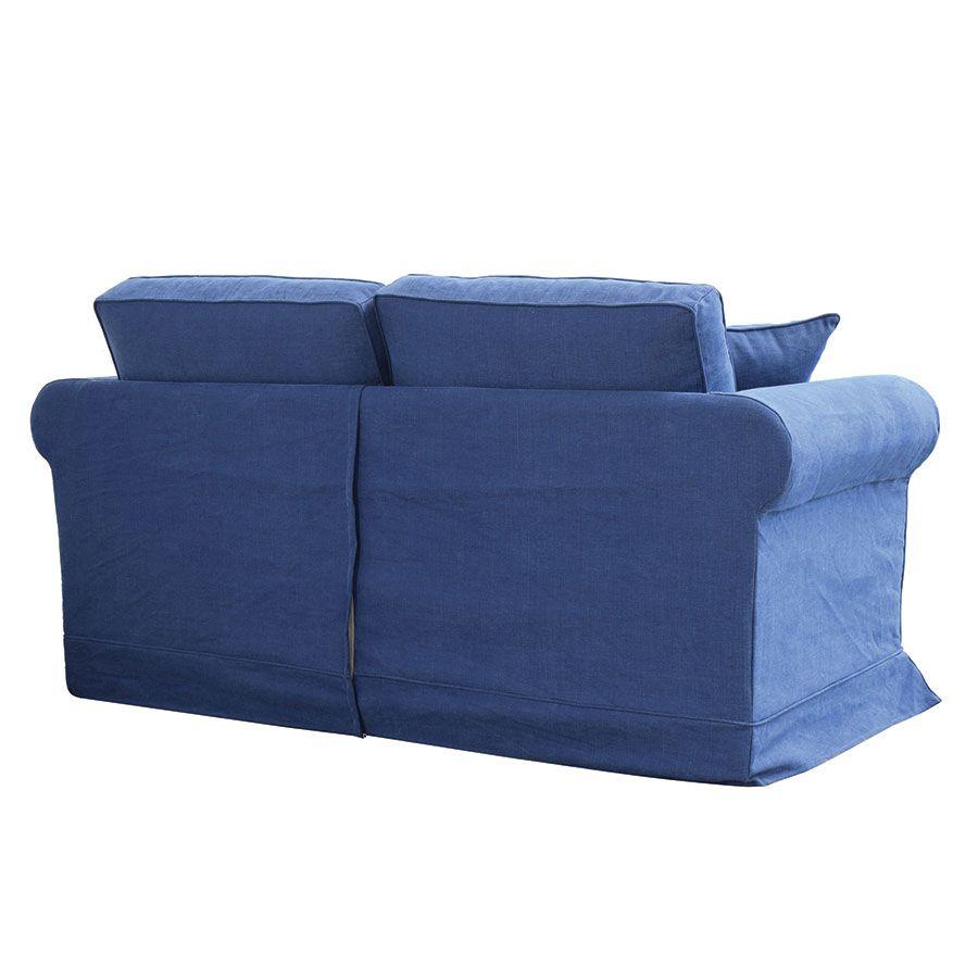 Canapé 2 places en tissu bleu - Crowson