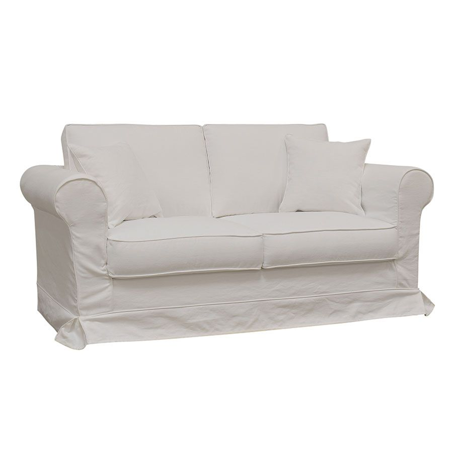 Canapé 2 places en tissu blanc - Crowson