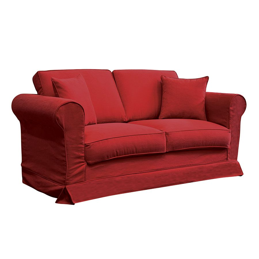 Canapé 2 places en tissu rouge - Crowson