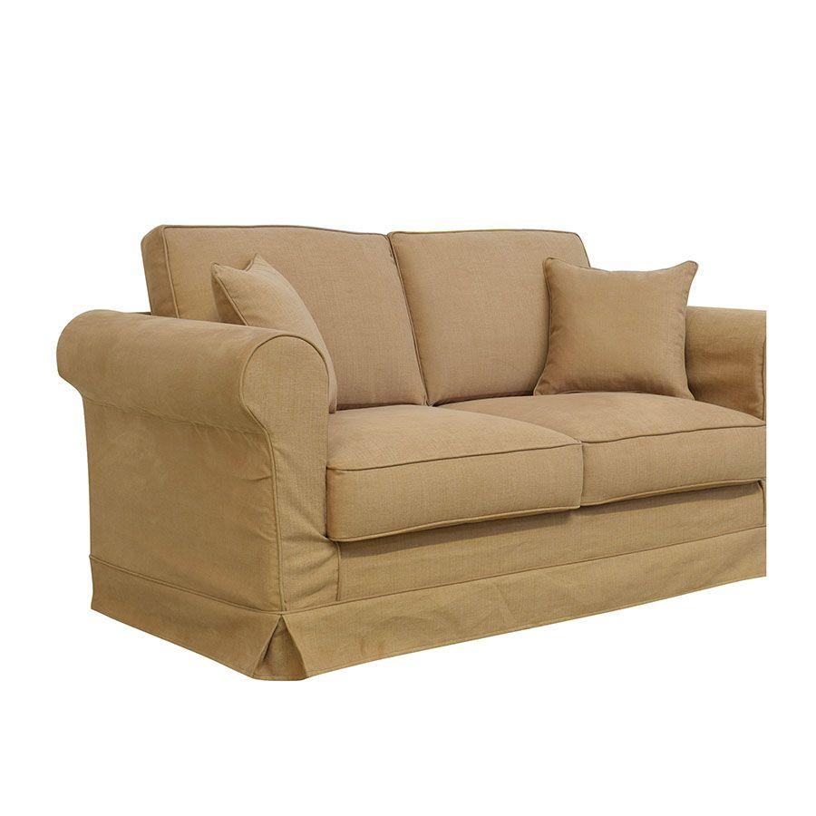 Canapé 2 places en tissu havane - Crowson