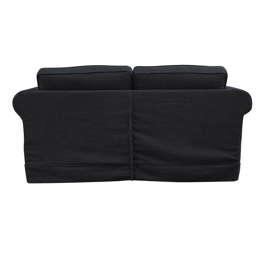 Canapé convertible 2 places en tissu lin anthracite - Crowson