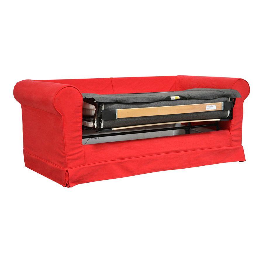 Canapé convertible 2 places en tissu rouge - Crowson