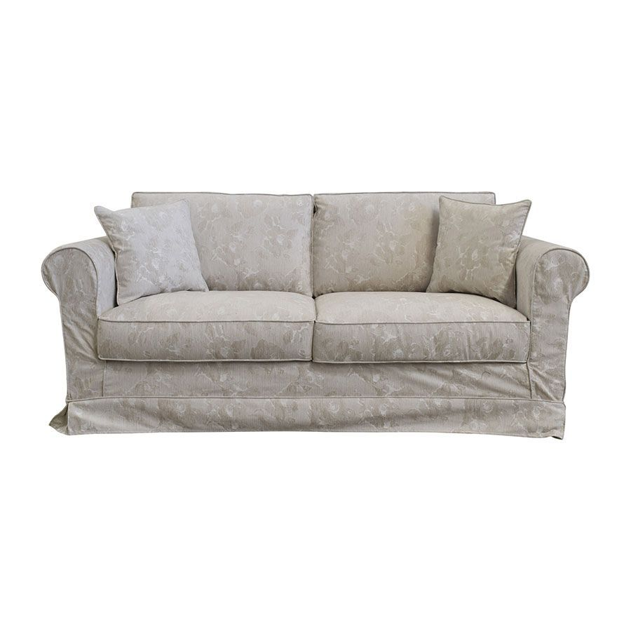 Canapé 3 places en tissu beige à motif - Crowson