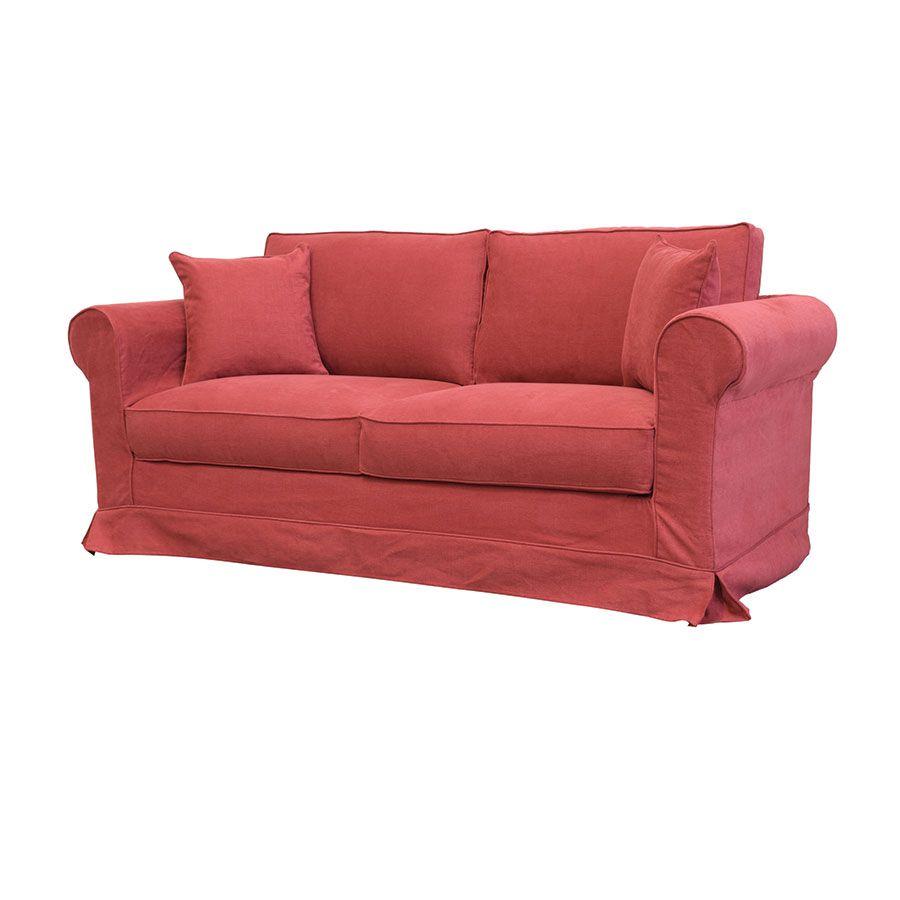 Canapé 3 places en tissu rouge - Crowson