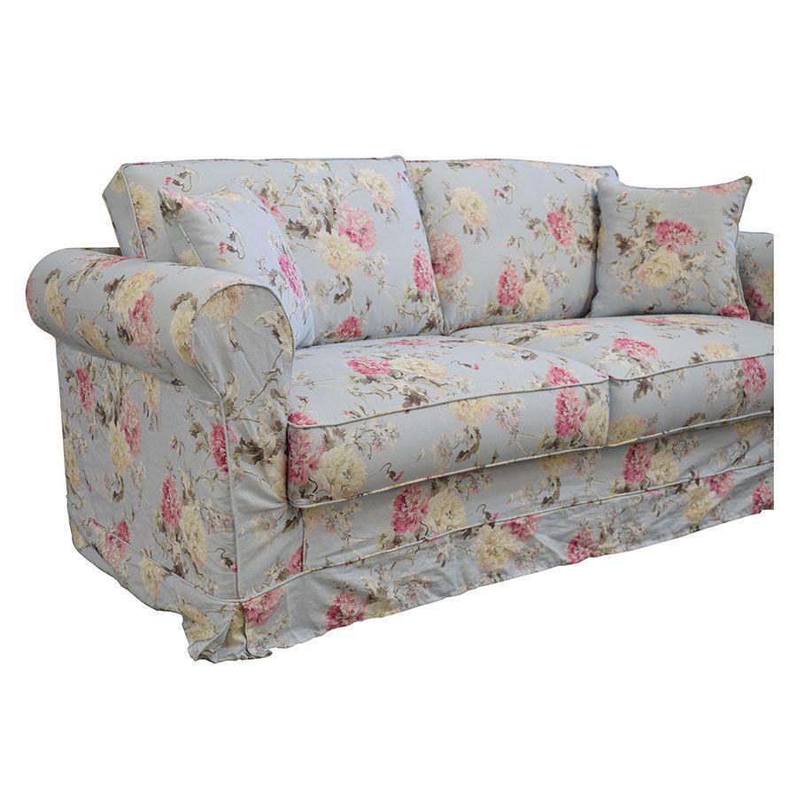Canapé convertible 3 places en tissu à motif fleuri - Crowson