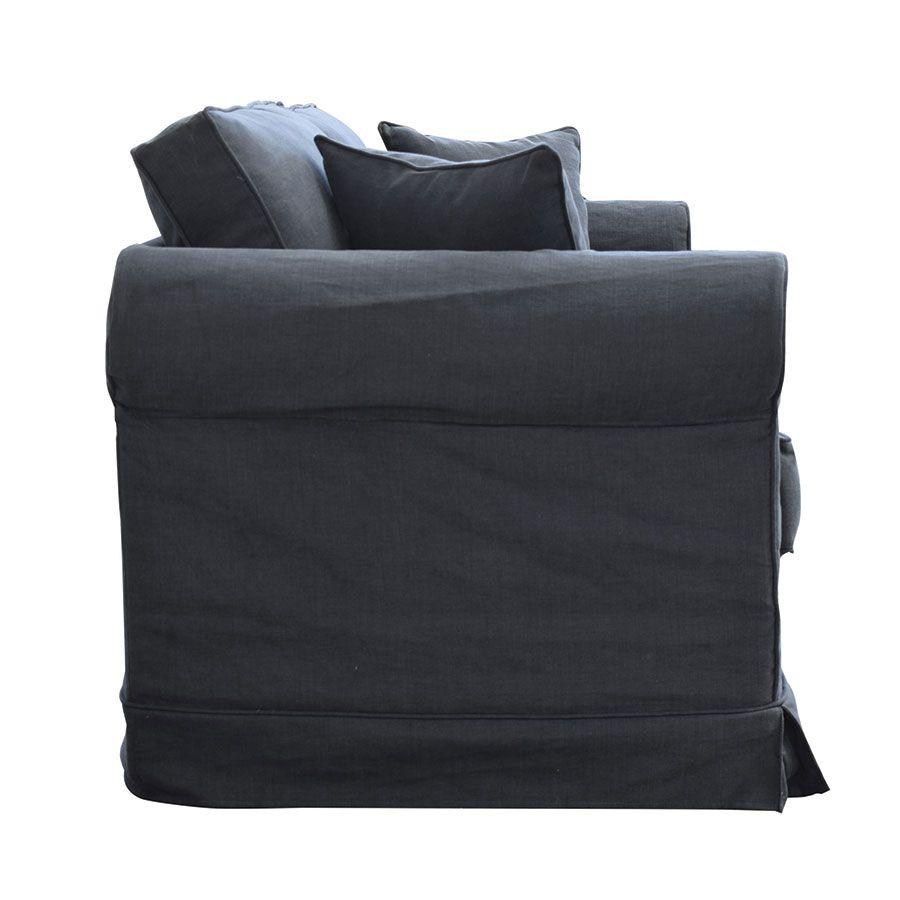 Canapé convertible 3 places en tissu noir - Crowson