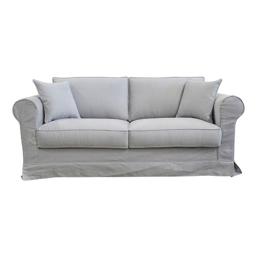 Canapé convertible 3 places en tissu gris clair - Crowson