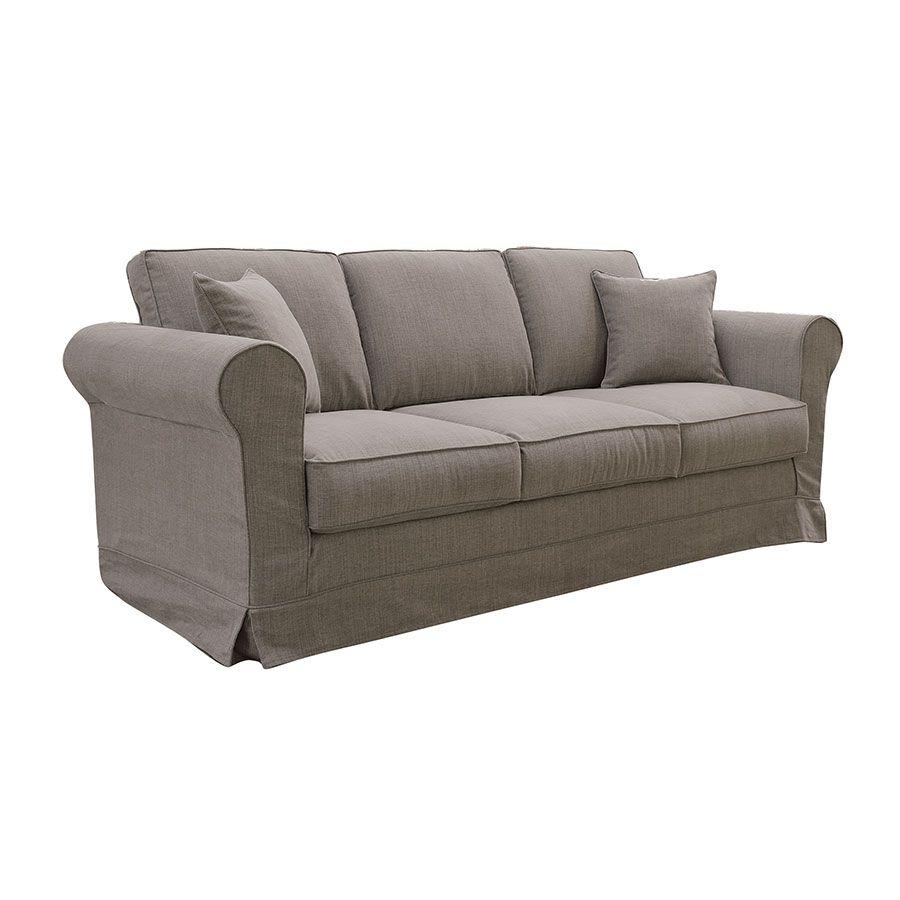 Canapé 4 places en tissu taupe grisé - Crowson