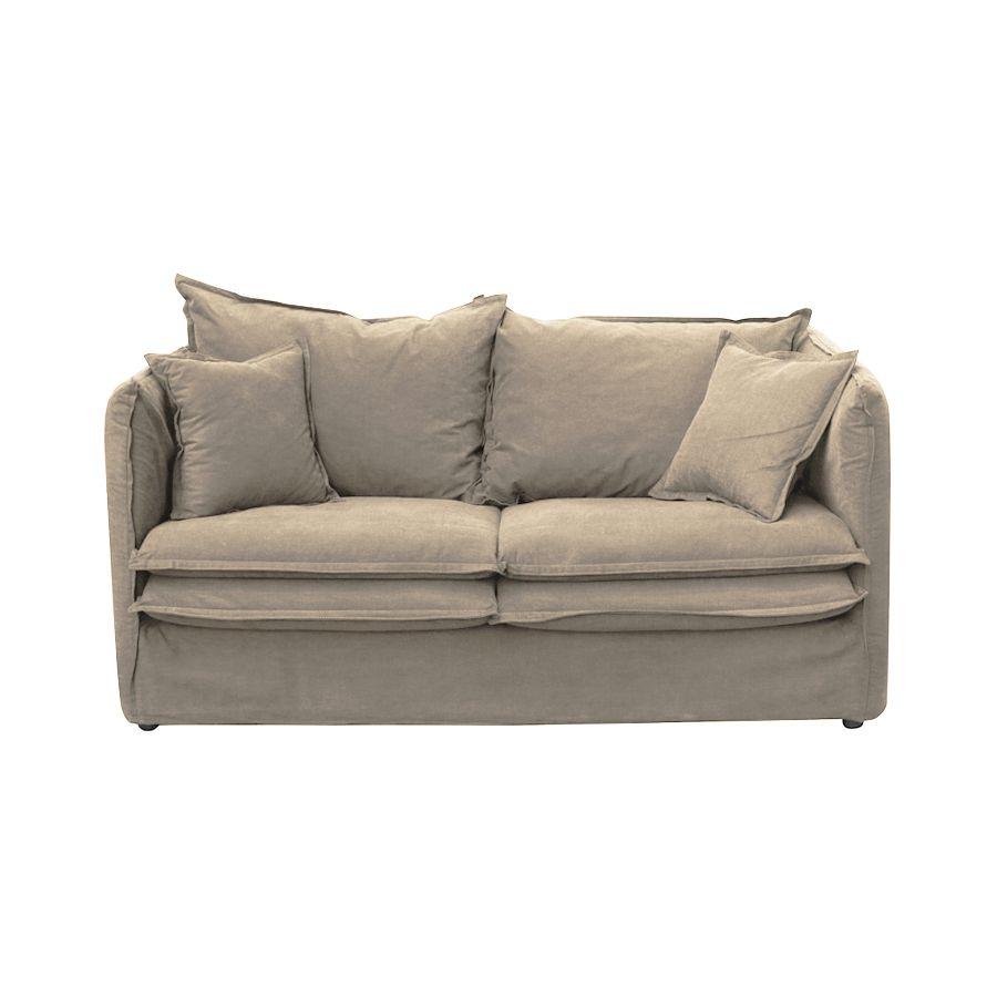 Canapé droit 3 places Beige Tissu Confort