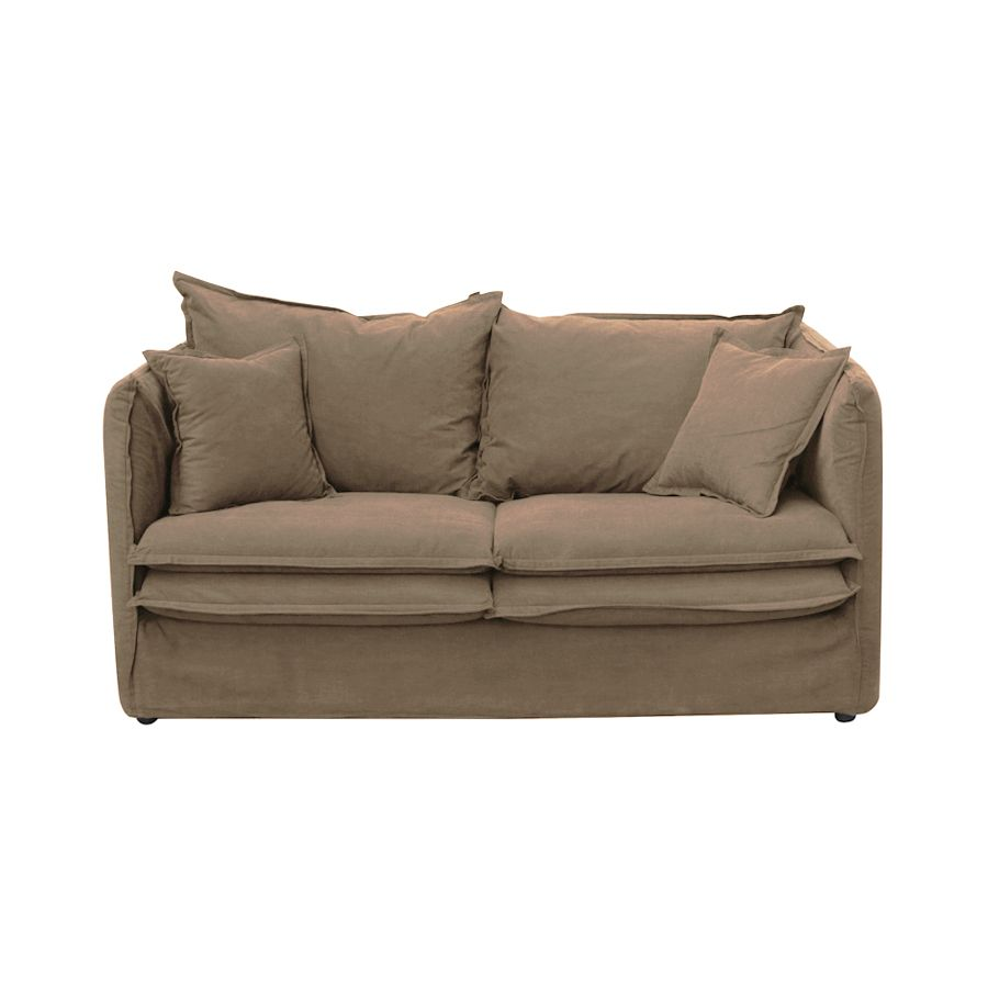 Canapé 3 places en tissu marron - Hampton