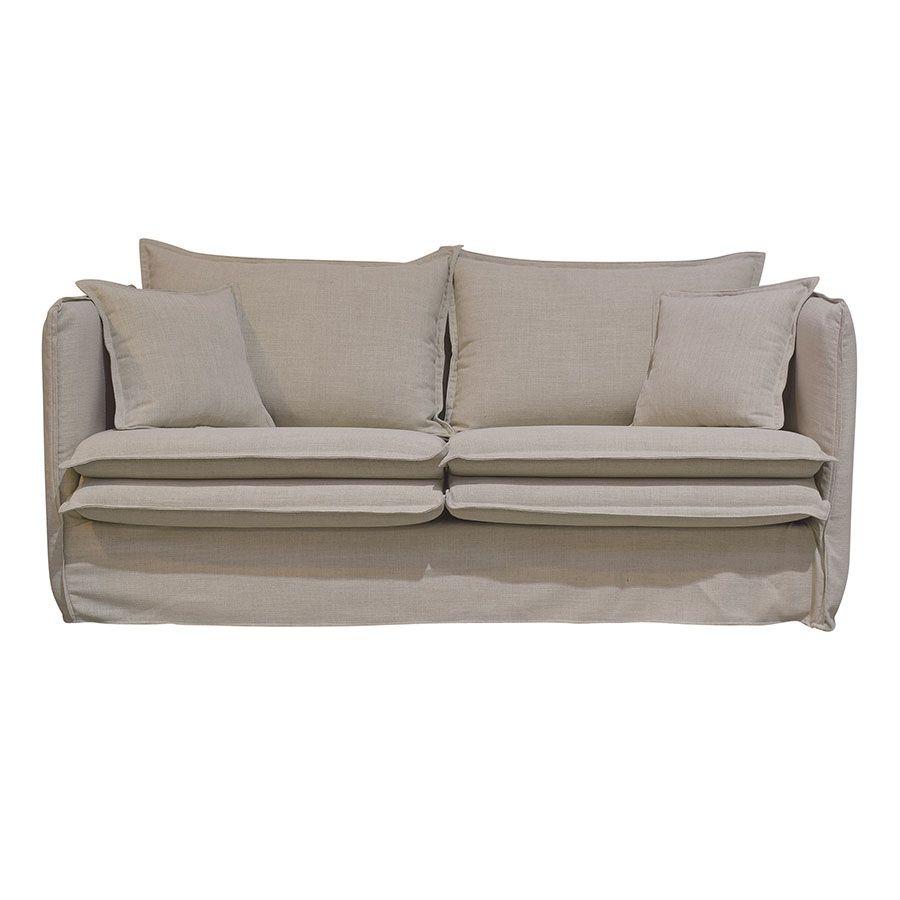 Canapé 3 places en tissu écru - Hampton