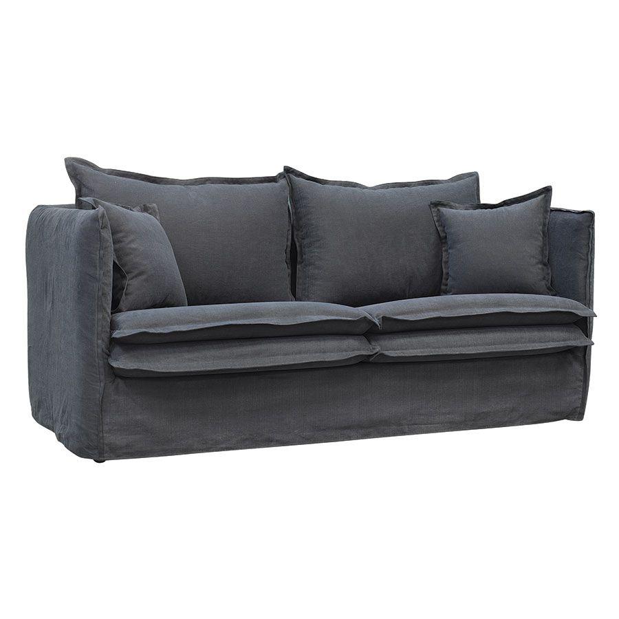 Canapé 3 places convertible en tissu noir - Hampton