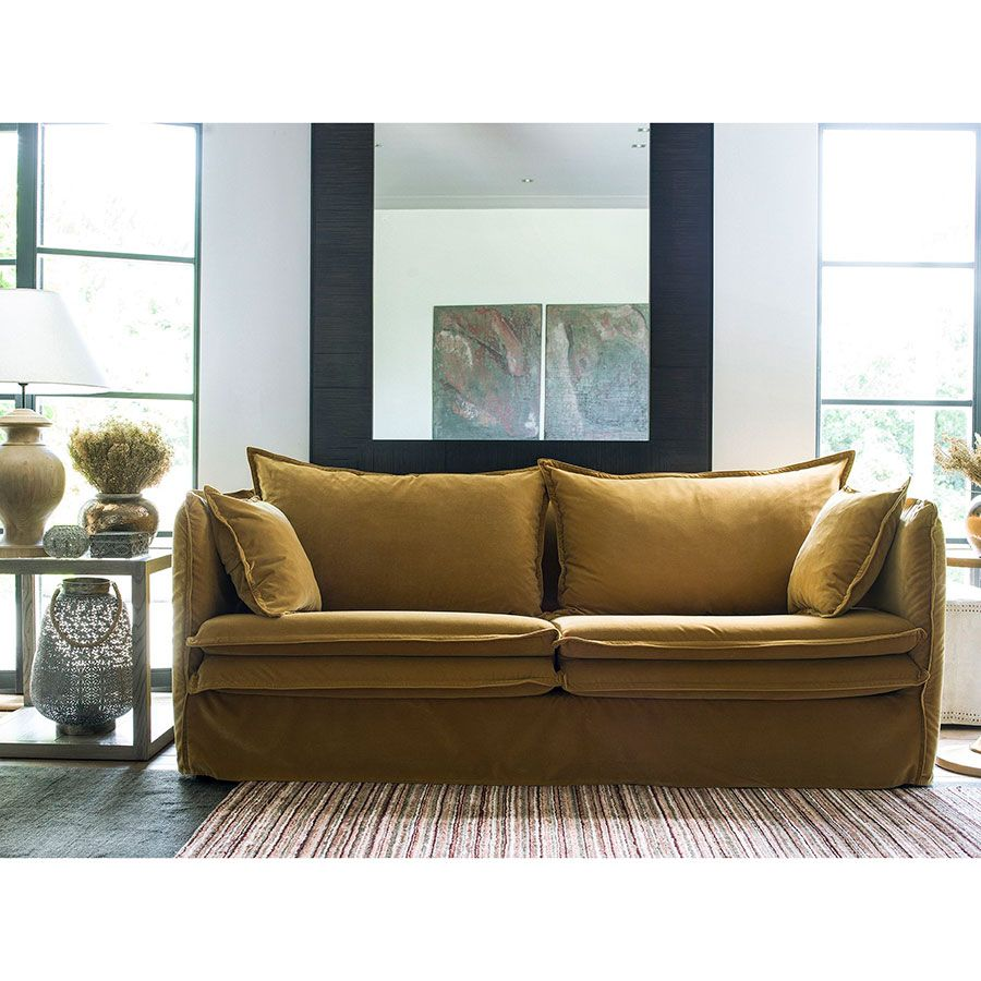 Canapé 4 places en tissu jaune moutarde - Hampton