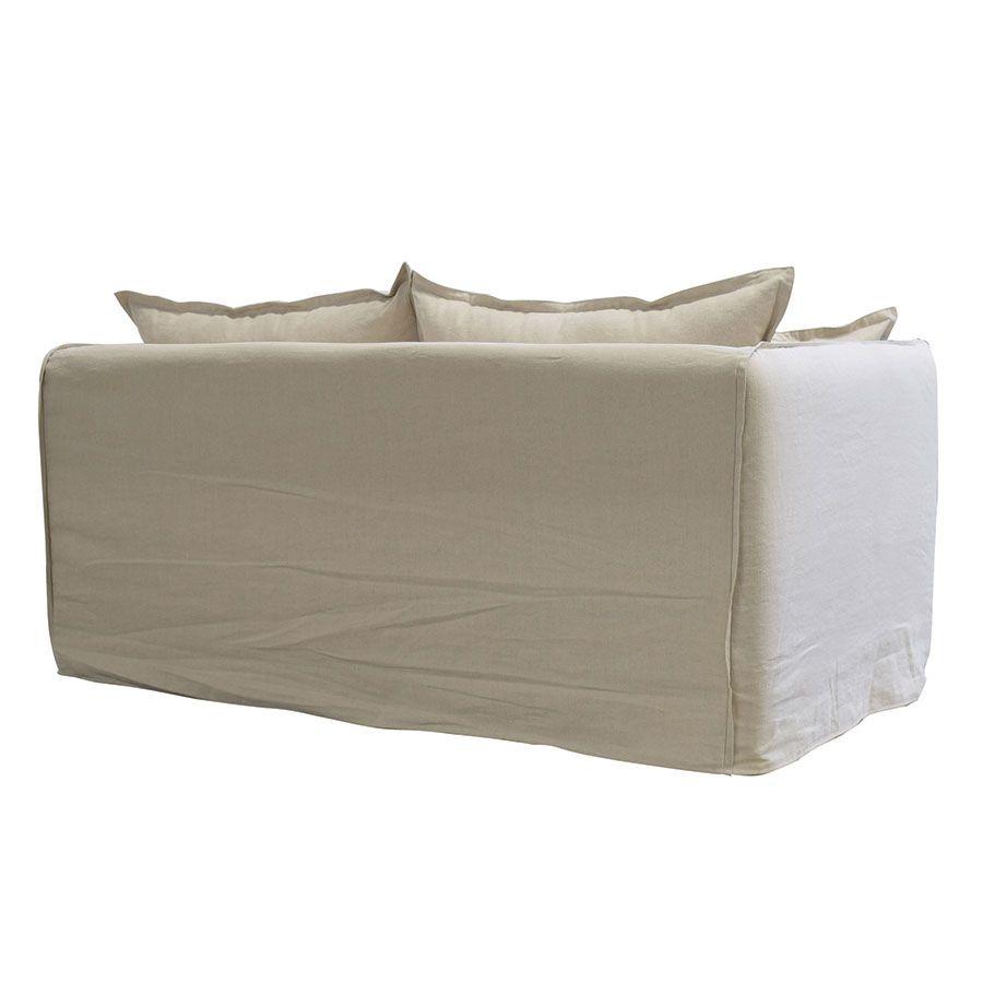 Canapé 4 places en tissu beige - Hampton