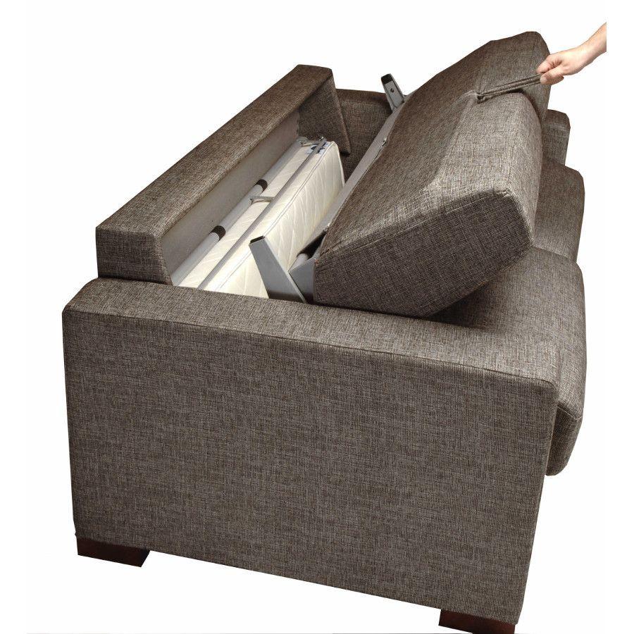 Canapé convertible 3 places en tissu marron - Madison