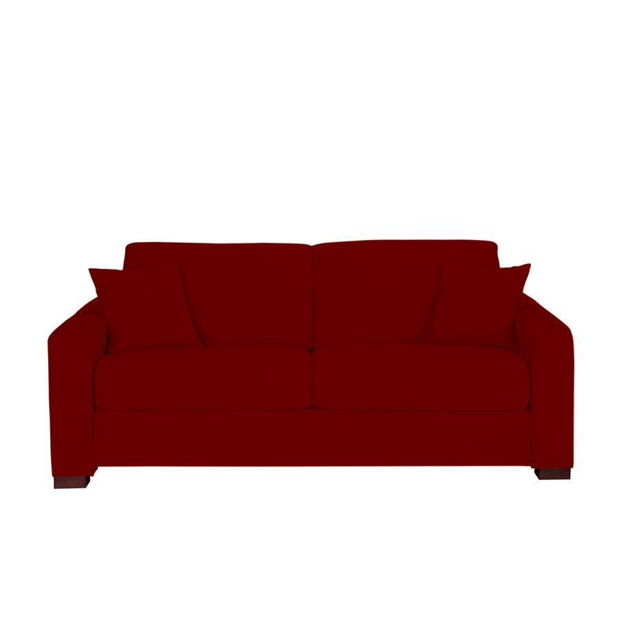 Canapé convertible 3 places en tissu lie de vin - Madison
