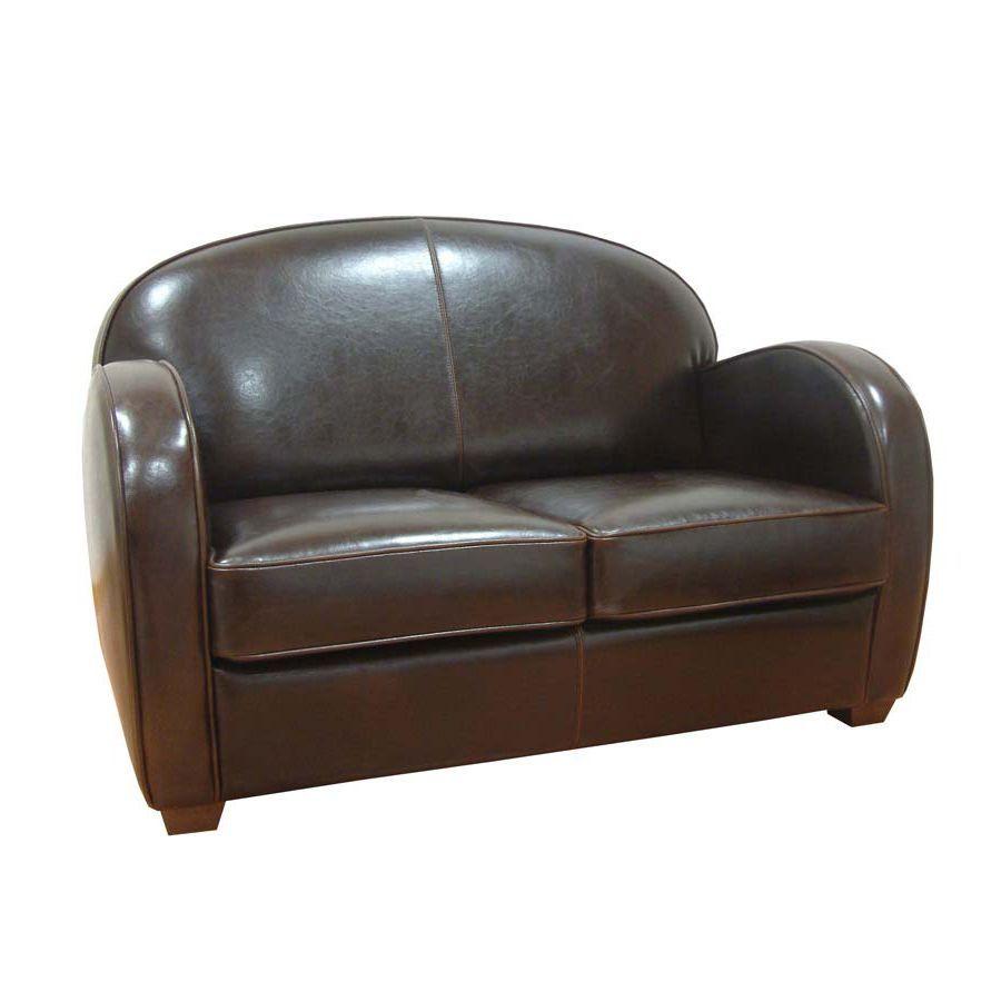 Canapé club en croûte de cuir bordeaux 3 places - Steed