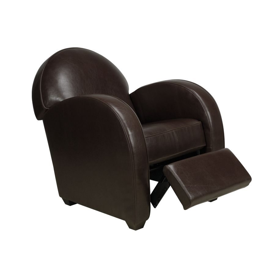 Fauteuil relax club en croûte de cuir marron - Steed