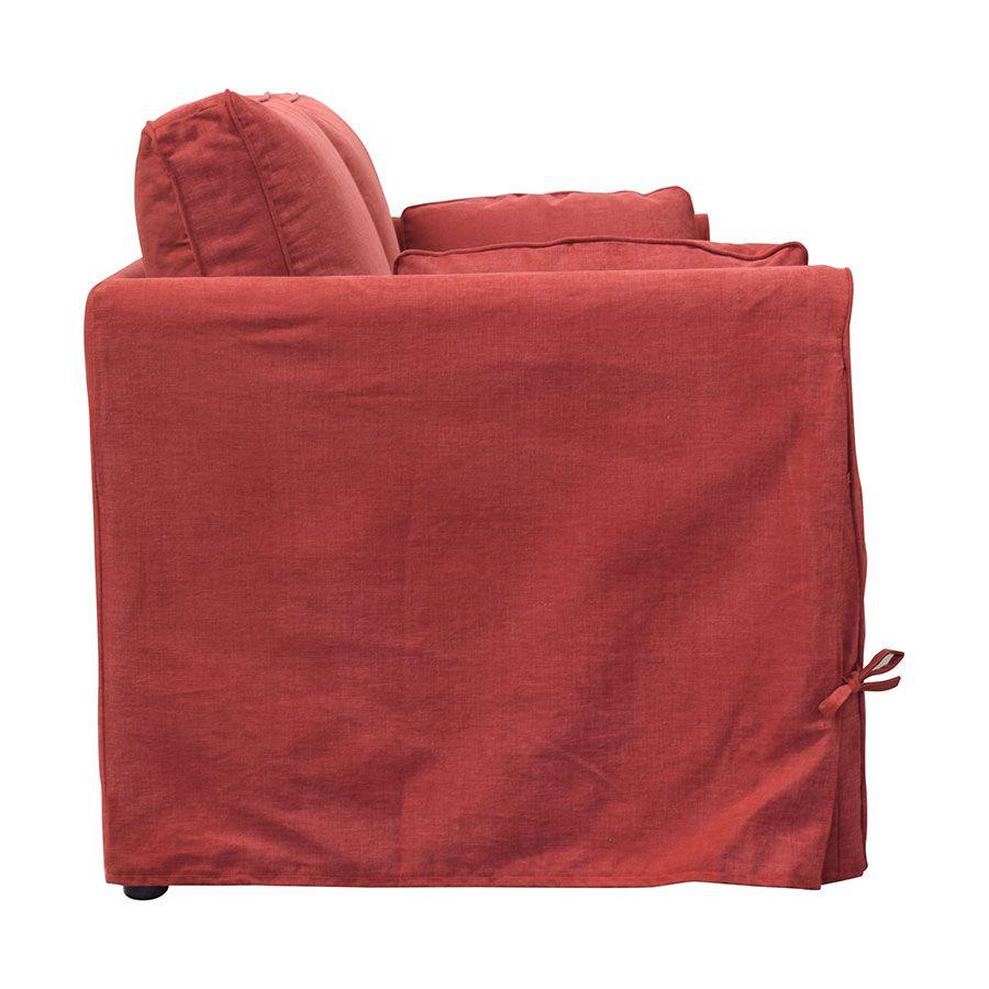 Canapé 2 places en tissu rouge - Welsh