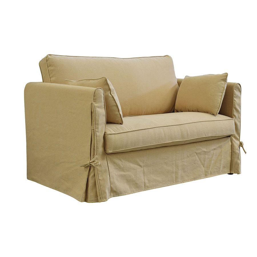 Canapé 2 places en tissu jaune  - Welsh