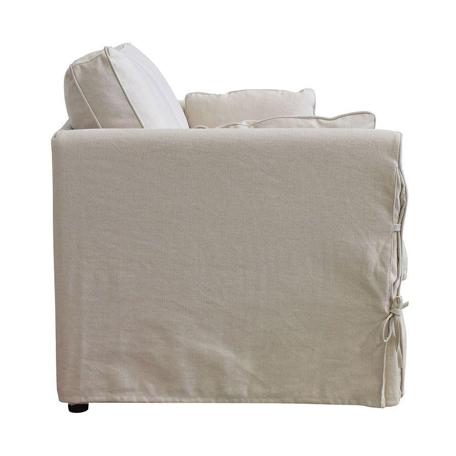 Canapé convertible 2 places en tissu beige   - Welsh