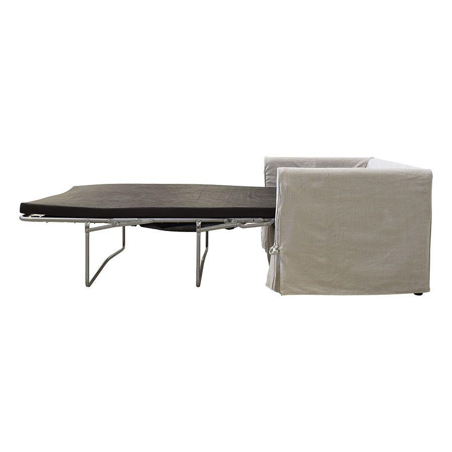 Canapé convertible 2 places en tissu gris clair - Welsh
