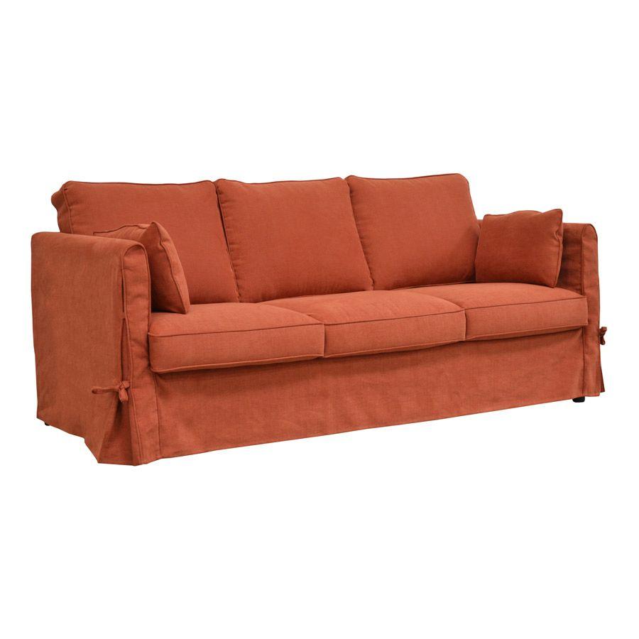 Canapé 4 places en tissu rouge - Welsh