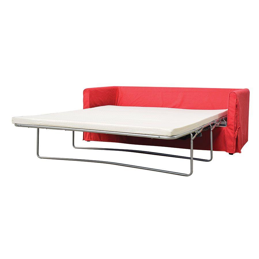 Canapé convertible 4 places en tissu rouge - Welsh