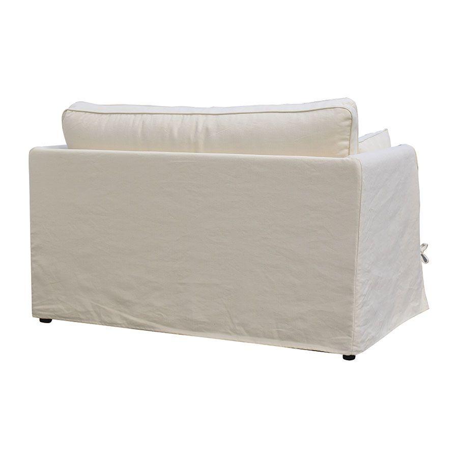 Canapé 2 places en tissu écru - mini Welsh