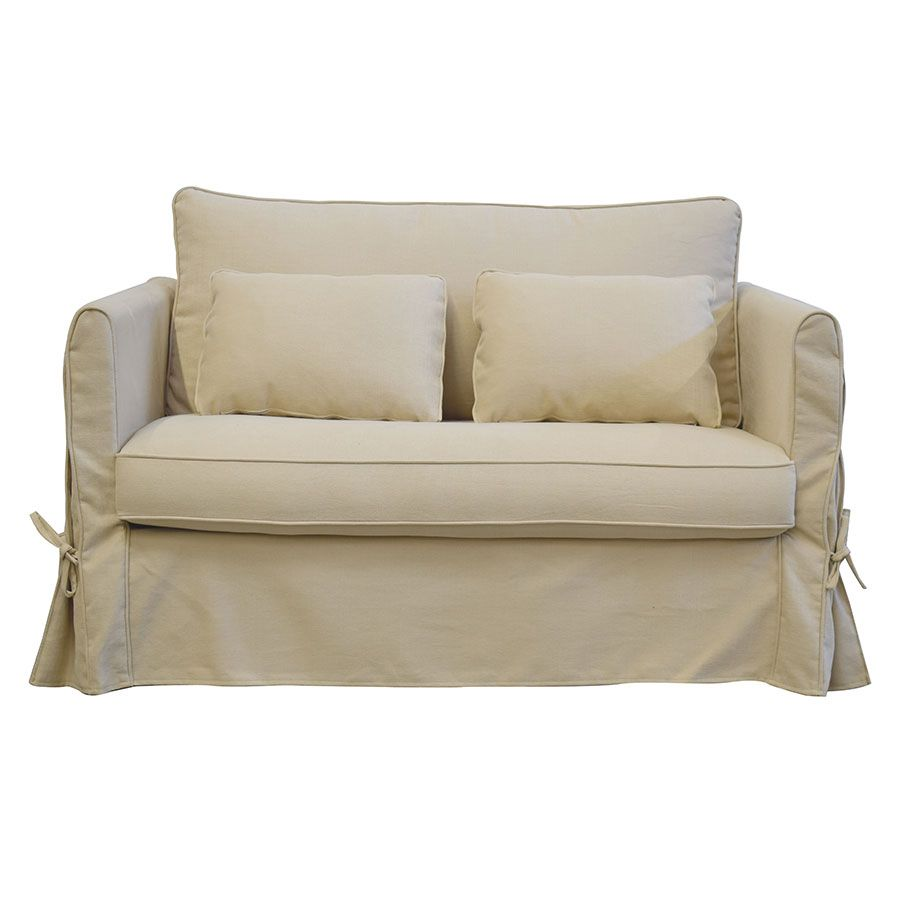 Canapé 2 places en tissu beige - Mini Welsh