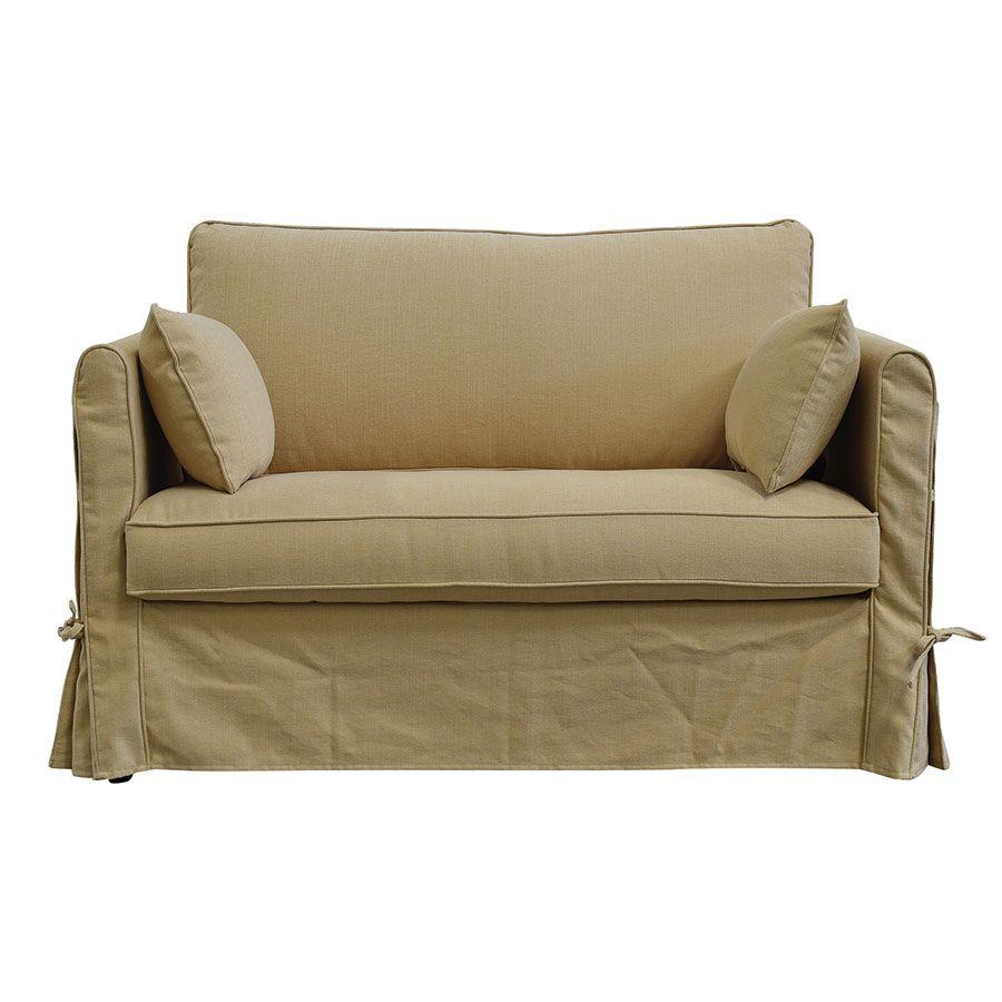 Canapé 2 places en tissu jaune - mini Welsh